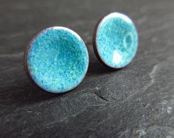 Denim blue enamel stud earrings, enamel posts, blue disc earrings, enamel on copper, torch enamel jewelry, studs, enameled earrings