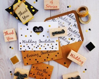 Wedding Invitation Rubber Stamps Various Fonts   DIY Bride Handmade Wedding  Invitation Stamp   Save The