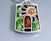 Ivy Woodrose sterling silver, pmc and resin house, door  pendant