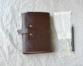Burgundy Leather Journal with Mixed Media Paper
