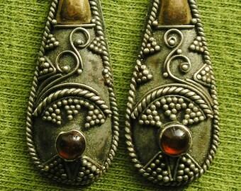 Granulated Sterling Silver Amber Teardrop Dangle Earrrings