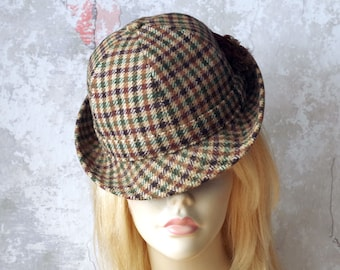 Vintage 1960s English Tweed Hat Size Small - Frank Drew Hillhouse & Co English Wool Sports Hat
