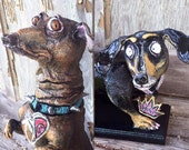 Custom Quirky Personalized Pet Sculpture  (pet portrait) Made to Order from Recycled Materials