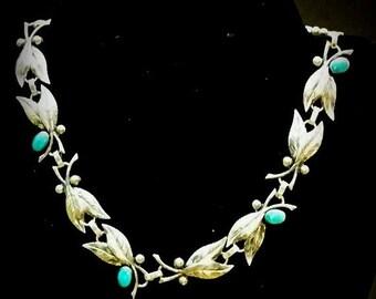 Valentines Lovers SALE Stunning Art Nouveau Art Deco Sterling Silver Turquoise Green Art Glass Leaf Raindrop Motif Vintage Necklace