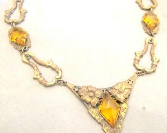 Valentines Lovers SALE Stunning Art Nouveau Art Deco Ornate Golden Topaz Glass Vintage Necklace
