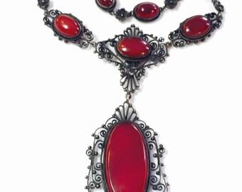 Valentines Lovers SALE Stunning Peruzzi Renaissance  Italian Silver Filigree Carnelian Vintage Antique Necklace