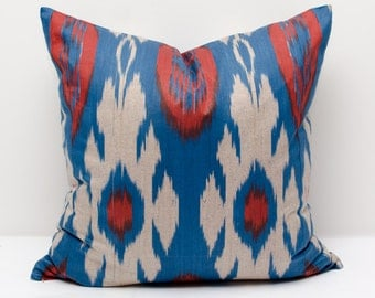 20x20 red blue ikat pillow cover, pillows, cushion case, ikats, decorative pillows, accent pillows, throw pillows