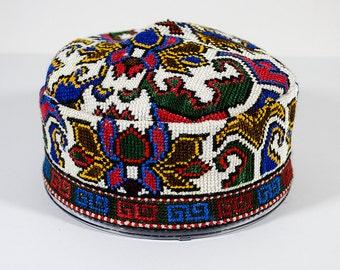 Handmade silk embroidery uzbek traditional cap duppi, cap, hat, headwear, asian, one sample