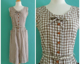 vintage 50's brown gingham cotton shirt dress with pockets