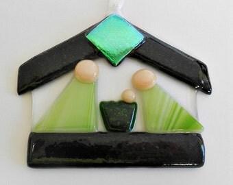 Green and black Fused Glass Nativity/ Suncatcher/ Ornament/ Keepsake