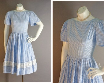 50s dress 1950s vintage BLUE WHITE GINGHAM cotton embroidery lace full skirt dress