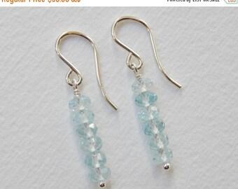 Blue Topaz Bar Earrings - Sterling Silver Beadwork Earrings Beaded Dangle Stick Earrings Swiss Blue