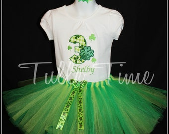 St Patrick's day birthday personalized name with tutu 3rd birthday