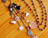 Reclaimed bohemian tassel pendant necklace wooden rosary eco friendly recycled upcycled repurposed shell rose quartz gemstone charm jewelry