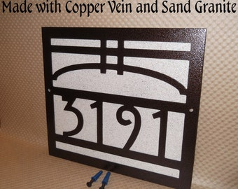 Arts and Craft address sign, Bungalow, House number, Address number, Mission style,Craftsman style, Metal art, Street number, Address Plaque