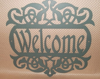 Welcome Sign, Scroll, Wall art, outdoor sign, housewarming gift, Wall decor, Front door, House sign, Metal Art, Weathered Verde Green