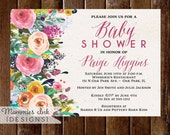 Baby Shower Invitation, Watercolor Flowers Invitation, Floral Invitation, Floral Invite, Come and Go Invitation, New Baby Invitation