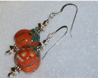 Halloween SPECIALS 925 Silver Orange, Green & Yellow Ceramic Pumpkin Beaded Dangle Earrings