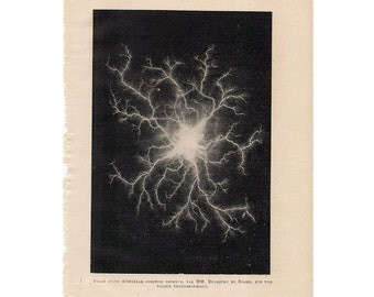 1913 LIGHTNING & ELECTRICITY print original antique weather storm lithograph - positive spark