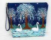 Tall Zippered Pouch, Swan Lake in Midnight Blue, Cosmetic Bag, Project Bag, Michael Miller Fabric