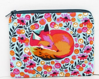 Pouch Small Zippered, Fox Nap Coin Purse, Tula Pink Chipper Sorbet