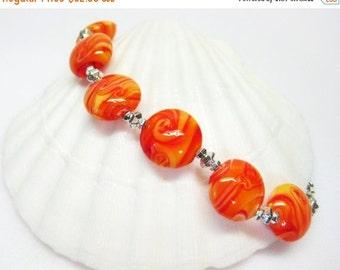40% off Orange Cream Bracelet - Orange Glass Bracelet - Summer Bracelet - Beach Jewelry - Womens Bracelet - Colorful Bracelet - Orange Jewel