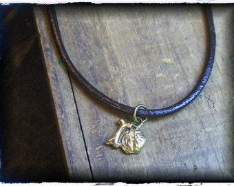 Bone Brain. Cast solid Golden Brass Bonebrain (idiot) stick figure charm. Great gag gift idea.. Faux braided leather cord