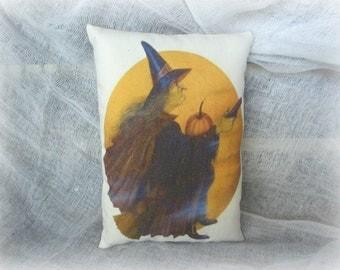 Halloween Witch Pillow | Primitive Mini Pillow | Primitive Tuck | Holloween Decor | Halloween Witch
