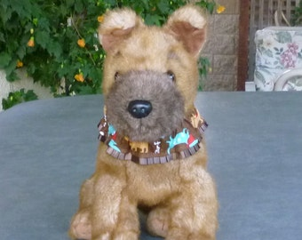 """Woof Dogs on Brown Dog Scrunchie Collar - pleated trim - Size XS: 10"""" - 12"""" neck - TrY Me PRiCe"""