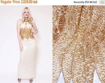 ON SALE 25% OFF Vtg 90s Stunning Sequin Flower White Gold Baroque Trophy Halter Evening Gown Prom Dress L
