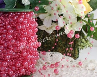 Hot Pink String Beads, Beads by the yard, Pink Beads, Hot Pink Beads, Pink Pearl Beads, Craft Beads, Wedding, Party Supplies, Gift Ribbon