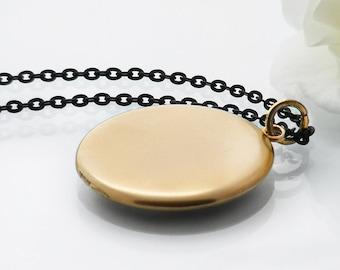 Antique Locket | Victorian Satin Gold Locket Necklace | Plain Gold Locket | Large Round Gold Locket - 34 Inch Matte Black Long Chain