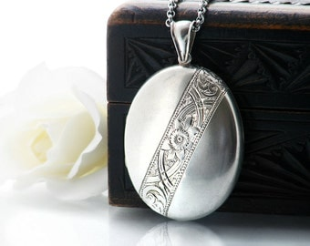 Antique Locket Sterling Silver | Large Oval Victorian Locket | Engraved Silver Love Token | Oval Photo Locket Necklace - 34 Inch Long Chain