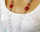 Long Red Silver Beaded Necklace, Chunky Red Necklace, Long Red Necklace, Long Silver Necklace, Long Necklaces, Chunky Beaded Necklace, N-827