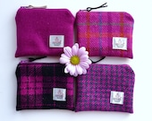 Pink HARRIS TWEED coin purse , pink coin purse , pink zipped pouch , handmade in Scotland