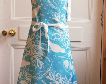 Apron in Blue- Digitally Printed in the UK. Cotton Drill.