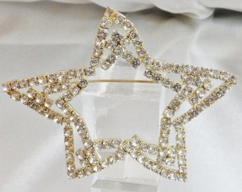 SALE Vintage Large Rhinestone Star Brooch.  Abstract. Clear 1950s Rhinestone Open Double Star Pin.  Christmas Brooch.  Holiday Pin.