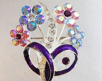 SALE Vintage Flower Bouquet Brooch. Clear, Blue, Pink, Purple AB Rhinestone Floral Pin.