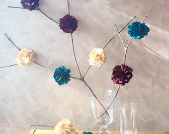 10 Pieces. Woodlands Inspired Green Brown Cream Peony Flowers Decoration. Forest Baby Shower Centerpiece. Rustic Garden Wedding Decoration
