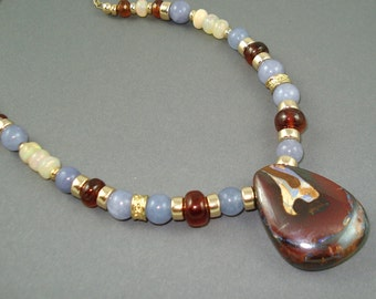 Boulder Opal Focal Pendant with Aquamarine, Hessonite Garnets, Ethiopian Fire Opals, Gold Fill Beads and Chain Handmade Opal Jewelry