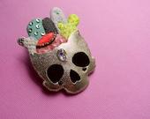 Cactus Skull brooch, skull brooch, skull pin, cactus jewelry, skull jewelry, succulents - METALLIC