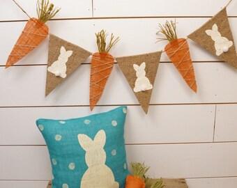 Easter banner, bunny and carrot banner, Easter bunting, burlap banner, easter bunting, spring, easter decor, pennant banner