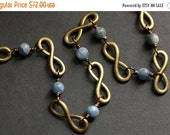 VALENTINE SALE Infinity Necklace.  Kyanite Necklace.  Bronze Necklace. Infinity Chain Necklace in Blue and Bronze. Blue Necklace. Handmade N