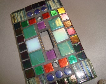 MOSAIC LIGHT SWITCH Plate Cover - Single,  Wall Plate, Home Decor, Multicolor