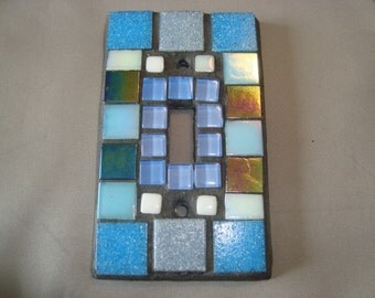 MOSAIC Light Switch Plate -  Single Switch, Blue, Wall Art, Wall Plate