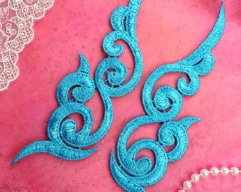 "GB249 Embroidered Appliques Turquoise Scroll Design Mirror Pair 6.75"" (GB249X-tr)"