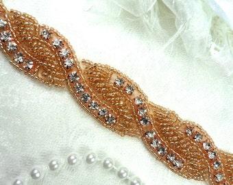 """Rhinestone Trim Rose Gold Beaded Crystal Stones Braided 1"""" (DH61-rsglcr)"""