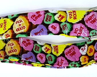 Cute 'N Corny Valentines Day Conversation Candy Hearts on Brown Dog Collar