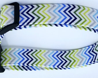 It's A Boy Thing Green White Silver and Blue Chevron Zig Zag Stripe Dog Collar
