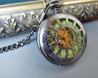 Pocket Watch - Glow in the Dark Black Mechanical Pocket Watch with Chain - Steampunk Pocket Watch - Item MPW021